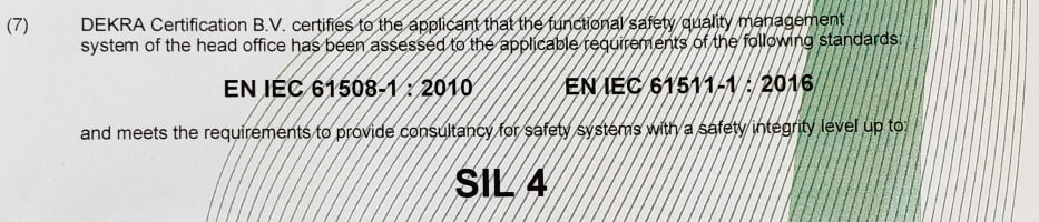 SIL 4 Functional Safety Management (FSM) certificate
